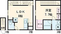 東急田園都市線 桜新町駅 徒歩18分の賃貸テラスハウス 1階1LDKの間取り