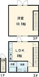 キューエル用賀II 2階1LDKの間取り