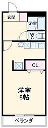 豊橋鉄道渥美線 愛知大学前駅 徒歩8分の賃貸マンション 2階1Kの間取り