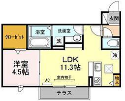 JR飯田線 下地駅 徒歩12分の賃貸アパート 1階1LDKの間取り