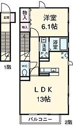 東急東横線 都立大学駅 徒歩9分の賃貸アパート 2階1LDKの間取り