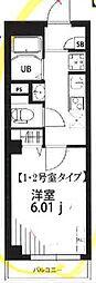 東急東横線 自由が丘駅 徒歩11分の賃貸マンション 1階1Kの間取り