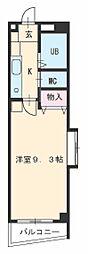 名古屋市営東山線 上社駅 徒歩8分の賃貸マンション 5階1Kの間取り