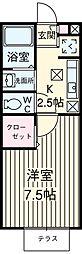 埼玉新都市交通 伊奈中央駅 徒歩4分の賃貸アパート 2階1Kの間取り