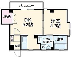 ルクーク 3階1DKの間取り