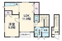 JR京浜東北・根岸線 鶴見駅 バス10分 二本木下車 徒歩3分の賃貸アパート 2階1LDKの間取り