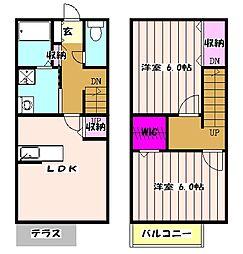 JR総武本線 佐倉駅 バス10分 根郷小学校下車 徒歩4分の賃貸テラスハウス 1階2DKの間取り