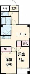 ローズガーデン 6階2LDKの間取り