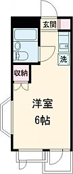 JR中央線 国分寺駅 徒歩8分の賃貸マンション 2階ワンルームの間取り