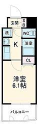 プレサンス覚王山D−StyleII 6階1Kの間取り