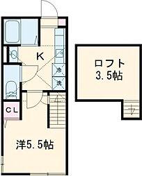 多摩都市モノレール 中央大学・明星大学駅 徒歩3分の賃貸アパート 2階1Kの間取り