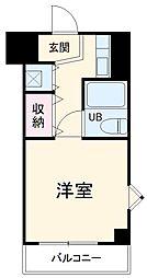 東急田園都市線 青葉台駅 徒歩15分の賃貸マンション 4階ワンルームの間取り