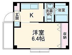 JR京葉線 新浦安駅 徒歩12分の賃貸マンション 2階1Kの間取り