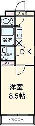 名鉄犬山線 西春駅 徒歩35分の賃貸マンション 3階1DKの間取り