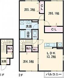 東京メトロ有楽町線 氷川台駅 徒歩11分の賃貸アパート 2階3LDKの間取り