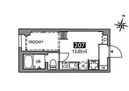 マツバラハウス 2階ワンルームの間取り
