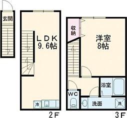 プライムガーデン桜新町 2階1LDKの間取り