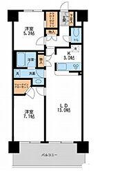 東京メトロ日比谷線 南千住駅 徒歩9分の賃貸マンション 1階2LDKの間取り