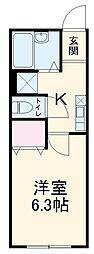 京急本線 横須賀中央駅 徒歩8分の賃貸アパート 1階1Kの間取り
