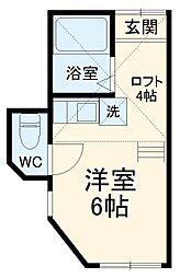 京急本線 南太田駅 徒歩9分の賃貸アパート 2階ワンルームの間取り