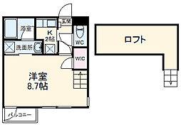 近鉄名古屋線 烏森駅 徒歩9分の賃貸アパート 1階1Kの間取り