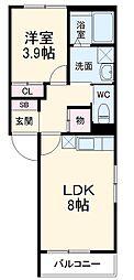 名古屋市営東山線 中村日赤駅 徒歩10分の賃貸アパート 2階1LDKの間取り