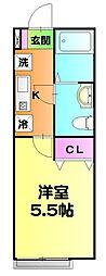 東京メトロ千代田線 北綾瀬駅 徒歩10分の賃貸アパート 3階1Kの間取り