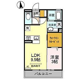 東武伊勢崎線 茂林寺前駅 徒歩14分の賃貸アパート 3階1LDKの間取り