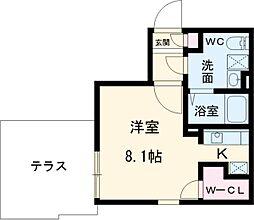 名古屋市営桜通線 桜山駅 徒歩6分の賃貸マンション 1階ワンルームの間取り