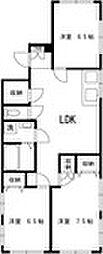 東京メトロ丸ノ内線 中野新橋駅 徒歩3分の賃貸マンション 4階3LDKの間取り
