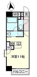 名古屋市営名城線 大曽根駅 徒歩2分の賃貸マンション 6階ワンルームの間取り