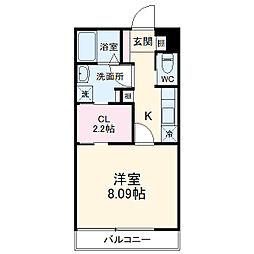 上毛電気鉄道 中央前橋駅 徒歩22分の賃貸アパート 1階1Kの間取り