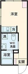 ラフォート板橋本町 5階ワンルームの間取り