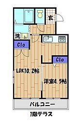 小田急小田原線 相武台前駅 徒歩5分の賃貸マンション 1階1LDKの間取り