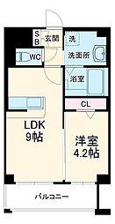 西鉄天神大牟田線 高宮駅 徒歩4分の賃貸マンション 1階1LDKの間取り