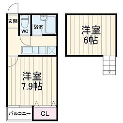西鉄天神大牟田線 井尻駅 徒歩14分の賃貸アパート 1階1Kの間取り