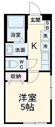 JR成田線 成田駅 徒歩25分の賃貸アパート 1階1Kの間取り