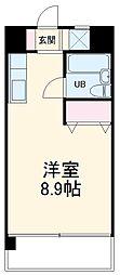 龍ハイツ 4階ワンルームの間取り