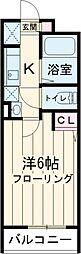 JR中央線 東小金井駅 徒歩8分の賃貸アパート 2階1Kの間取り