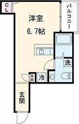 インベスト大崎6 1階ワンルームの間取り