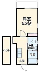 Abete横浜 B 3階1Kの間取り