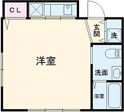 JR武蔵野線 西国分寺駅 徒歩2分の賃貸マンション 4階ワンルームの間取り