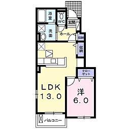 JR成田線 下総橘駅 5.2kmの賃貸アパート 1階1LDKの間取り