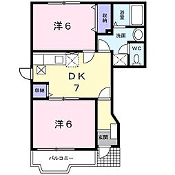 エテルネル 1階2DKの間取り