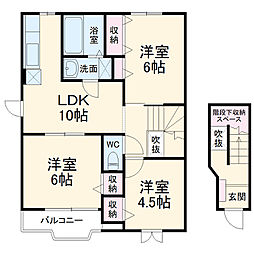 JR成田線 成田駅 バス30分 三里塚公園下車 徒歩2分の賃貸アパート 2階3LDKの間取り