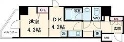 ラフィスタ北綾瀬 6階1Kの間取り