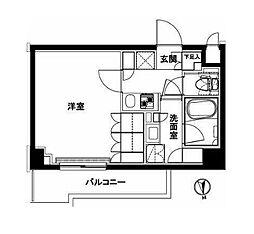 都営大江戸線 練馬駅 徒歩12分の賃貸マンション 2階1Kの間取り