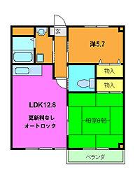 レヴェンテ翠香 1階2LDKの間取り