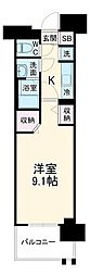 名古屋市営東山線 高畑駅 徒歩3分の賃貸マンション 12階1Kの間取り