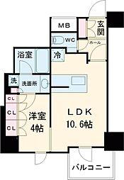 JR山手線 五反田駅 徒歩6分の賃貸マンション 17階1LDKの間取り